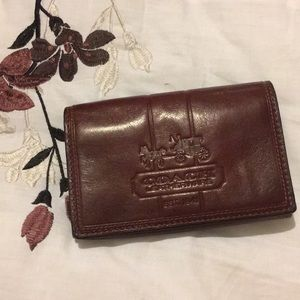 Coach Logo Embossed Leather pocket & zip wallet